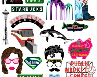 Seattle digital photo booth party props instant download