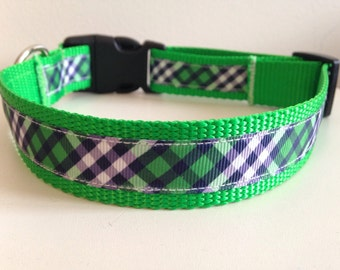 Preppy Green and Blue Plaid 1 inch Large Dog Collar
