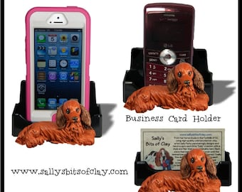 red Long Haired Dachshund Dog Holder for Cell Phone IPod IPhone or Business Cards OOAK by Sally's Bits of Clay
