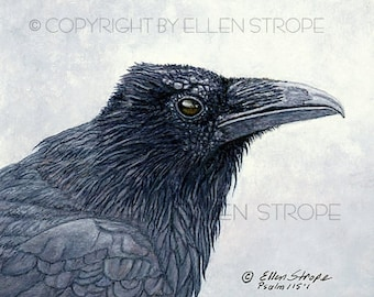 NOTE CARD, Ravens, bird decor, note cards, Ellen Strope, castteam, home decor,bird cards, wildlife, birds, bird art