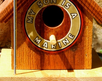 "Title:  ""My Son Is A Marine"" Birdhouse - Support Our Troops"