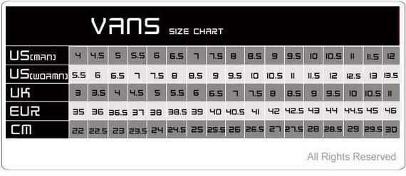 vans authentic size guide