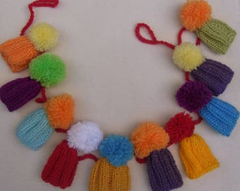 Miniature Bobble Hat Bunting   Knitted Bunting   Bobble Hats   Knitted Garland   Colourful Bunting  Handmade  Knitting   Hats  Wool