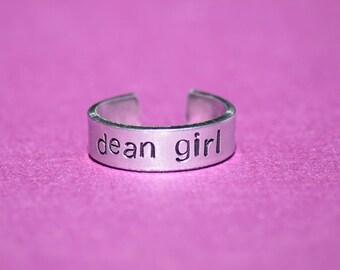 "Dean Girl - Supernatural Inspired 1/4"" Aluminum Adjustable Ring - Hand Stamped"