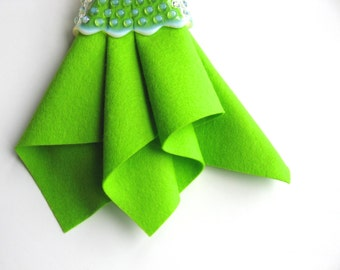 Lemon Lime Felt, Pure Merino Wool, Choose Size, DIY Sewing Supply, Bright Green Felt, Neon, Felt Sheet, Felt Leaves, Flowers, DIY Crafting
