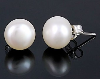 10mm White Freshwater Pearl Stud Earrings, AA Grade, 925 Sterling Silver, Bride Bridal Wedding Jewelry, Natural Pearls, Cultured Pearls