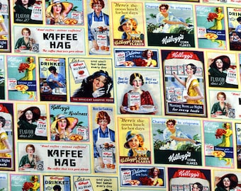 Kellogg Ladies Ad Patch, Springs Creative Fabric, Retro Novelty Theme, 100% Cotton, by the yard