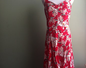 Vintage Hawaiian Pin-up Cotton 50s-style Day Dress, Ruby Red and Floral