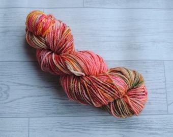 Spring - Hand Dyed Aran Weight Superwash Merino yarn Orange red yellow pink green