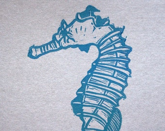 Blue and Grey Seahorse Linocut Postcard