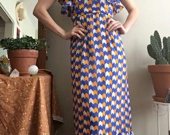 1970s Rodrigues blue and yellow chevron ruffle maxi dress • Vintage • Vintage Maxi Dress • Gown • Goddess • Retro • Vintage Designer • Boho