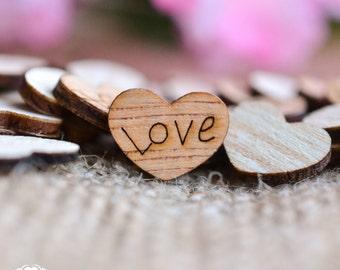 "100 Love Wood Hearts 1/2"" - Rustic Wedding Decor - Table Confetti - Wedding Invitations - Wedding Invitations"