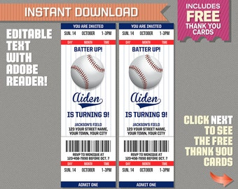 Baseball Ticket Invitation With FREE Thank You Card!   Baseball Birthday,  Baseball Party Invitation
