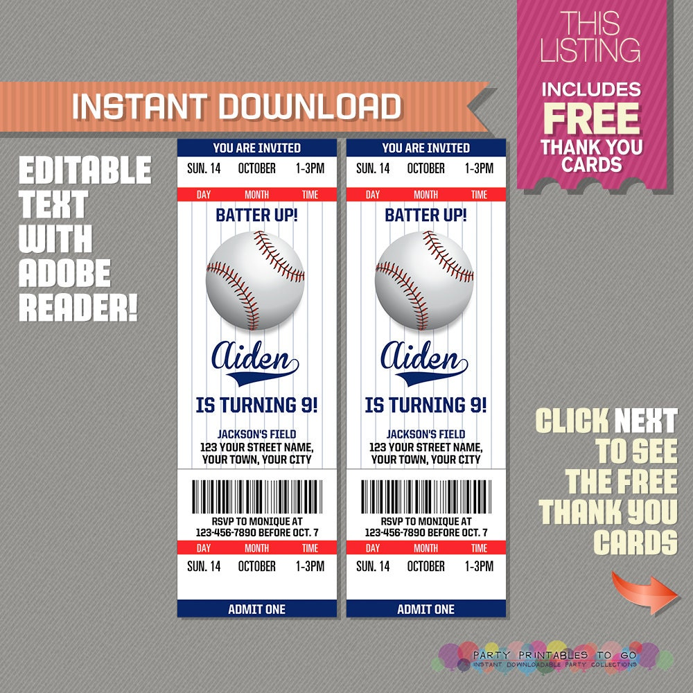 Baseball Ticket Invitation with FREE Thank you Card
