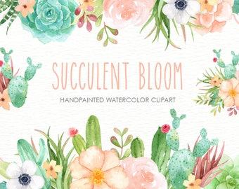 Succulent Bloom Watercolor Cliparts, Cactus, Flower Clipart, Botanical Plant, Tropical Clipart, Floral Pack, Succulent Wedding Invitation