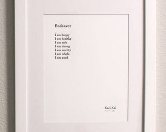 Limited Edition Letterpress print of poem Endeavor (Unframed)