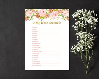 Floral Word Scramble Baby Shower Game, Light Floral Gold Baby Word Scramble Shower Game, Instant Download Printable