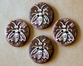 4 Handmade Ceramic Bee Buttons in Rich Brown Gloss - Focal Buttons - Nature Themed Garden - Knitting Supplies - Handmade Supplies