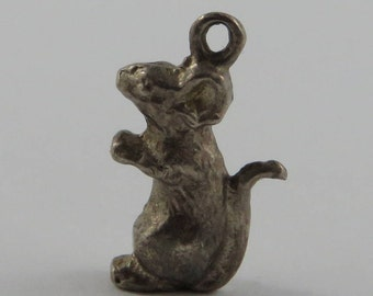 Mouse Sterling Silver Vintage Charm For Bracelet