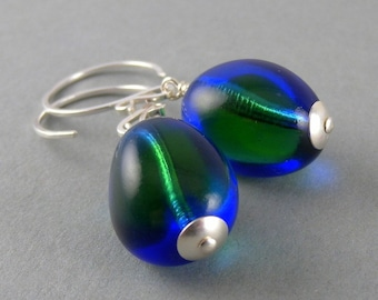 Blue and Green Mystified Earrings with Free USA Shipping