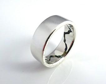 Hidden Gemstone Mountain Ring, 8mm band, Handmade Band w Gemstone Inlay, Silver, Palladium, Gold or Platinum Wedding Band, Mens Ring