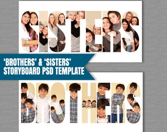 Sibling Storyboard Brothers Template, Sisters Photoshop Template, Collage PSD files, photographers moodboard, photography template, instant