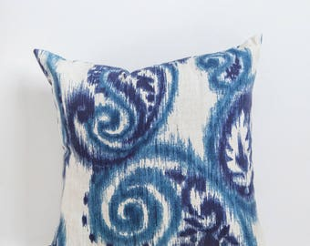 Blue Paisley Outdoor Pillow, Blue, Outdoor Pillow, Paisley, Paisley Pillow, Blue Pillow, Blue Outdoor Pillow, Outdoor Decor, Patio, Sunroom