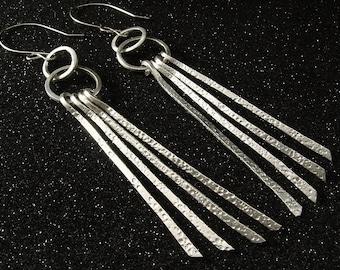 Sterling Silver Textured Strands Earrings, Long Earrings, Silver Earrings, Handmade Earrings