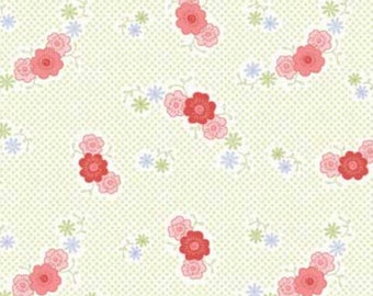 By The HALF YARD - Fancywork Box by Helen Stubbings For Red Rooster, #25640-LTGRE1 Floral, Tossed Tonal Pink Flowers on a Green Dotted White
