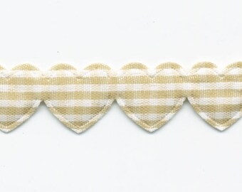 Ribbon Garland of hearts gingham beige C40 by the yard