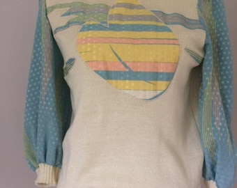 1980s Leslie Fay Cream Summer Sweater