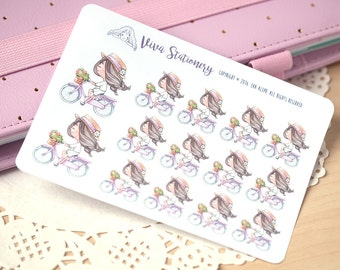 Kawaii Girl Riding a Bicycle Decorative Stickers ~Violet~ For your Life Planner, Diary, Journal, Scrapbook...