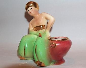 p7926: Vintage Joan Lea Creations 1950s Mid Century Planter Genie Man Aladdin Man at Vintageway Furniture