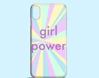 Girl Power phone case / iPhone X case, pastel iPhone 8, 8 Plus, iPhone 7, 7 Plus, summer iPhone 6, 6S, iPhone 5, Samsung Galaxy S7, S6, S5