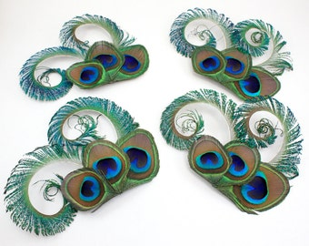 Bridesmaid fascinators - Set of 4 Optimistic peacock feather hair clips / Bridesmaid hair accessories