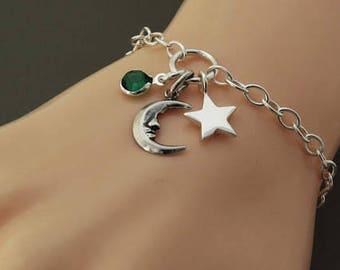 Sterling Silver Moon Star bracelet, Silver birthstone bracelet, Friendship Bracelet, Moon and Stars Bracelet, Gift for Girlfriend