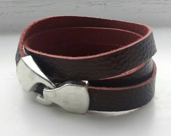 Men's red brown leather wrap bracelet, Classic basic wristband