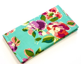 Fabric Checkbook Cover Personalized Wallet Monogrammed Check Holder Aqua Floral