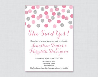 "Pink and Gray Engagement Party Invitation Printable or Printed - Pink and Silver Glitter Dots Invites ""She Said Yes!"" Silver Glitter 0001-S"