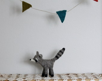 Needle felted Raccoon Ornament // Wool Decoration
