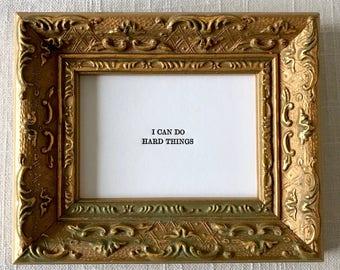 Gold Framed Mantra, Affirmations, Notes of Encouragement, Letterpress Print, Mini Letterpress Print, Affirmation Intention Cards