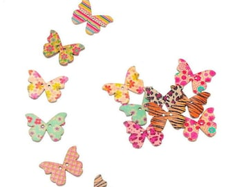 5 wooden shape 28 x 21 mm multicolored various patterned Butterfly buttons