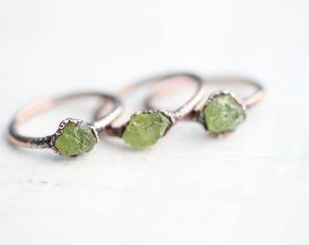 Raw Peridot Ring Electroformed Ring Peridot Ring Electroformed Peridot  Peridot Ring Green Peridot