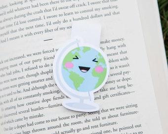 Kawaii Globe Magnetic Bookmark (Jumbo) Clip, Bookmark, Globe Planner Clip, World Planner Clip