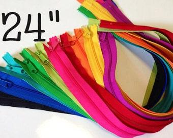 SALE, 24 inch Long Pull YKK zippers, TEN pcs, black, red, yellow, orange, turquoise, blue, pink, fuchsia, green, 4.5 mm zippers