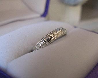 Vintage Wedding Band Sterling Silver Wedding Band 3.5mm Unique Wedding Band Wedding Ring Wedding Rings Hot Rox Floral Carved Ring Vintag