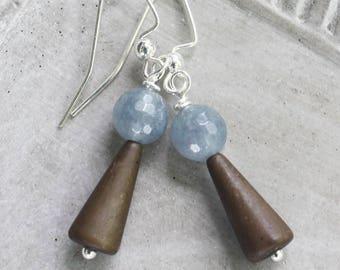 Wishing Well Earrings - blue and brown earrings, design challenge, simple earrings, silver earrings, silver jewelry, gazing ball