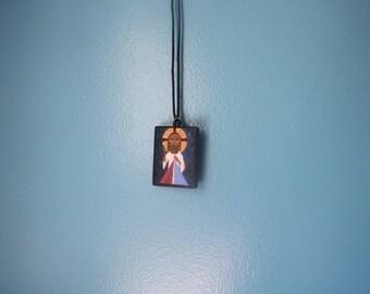 Divine Mercy Jesus Icon on Wood Cord Necklace