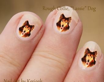 Ruwe Collie Nail Art met hond Nail Art Stickers, ruwe Collie Nail Stickers, vingernagel Stickers, Lassie hond, Decals