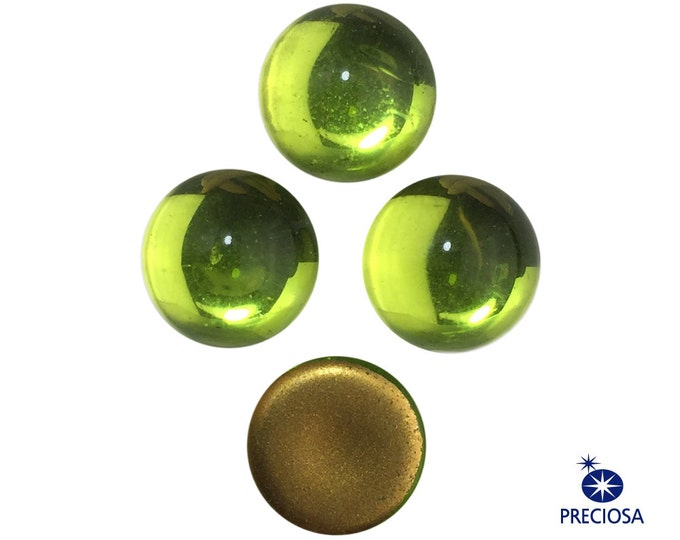 Preciosa Olivine Green Glass Cabochons 13mm (4) cab2006Q